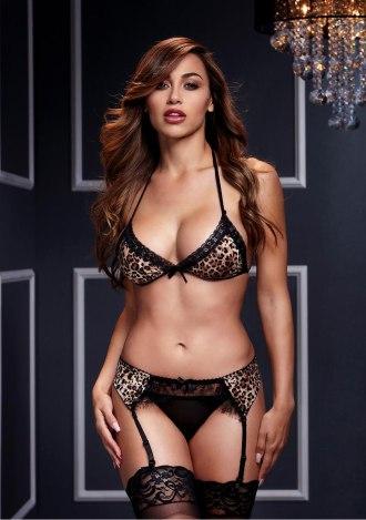 Leopard and Lace Bikini and Garter Set