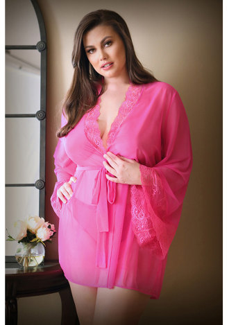 Haley Lace and Mesh Robe and Panty - Plus Size