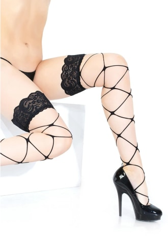 Stringy Net Thigh High Stockings