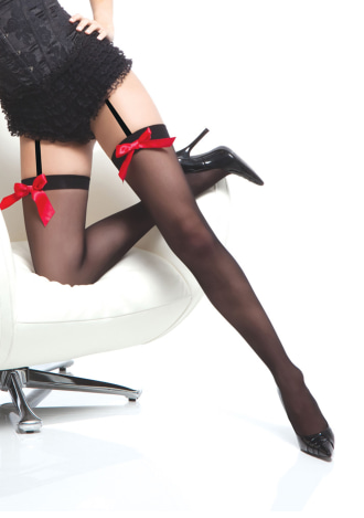 Sheer Stockings with Front Bow