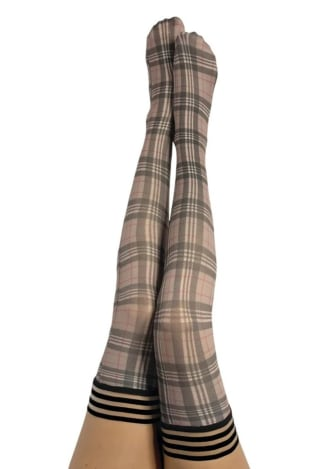 Lori Plaid Thigh Highs
