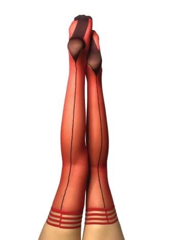 Monica Sheer Cuban Heel Thigh Highs