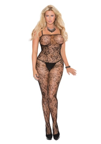 Rose Lace Crotchless Bodystocking - Queen Size
