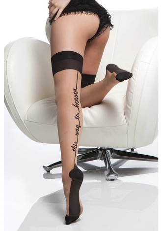 This Way To Heaven Cuban Heel Thigh Highs - Queen Size