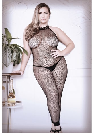 Feelin' Myself Halter Dot Fishnet Footless Bodystocking - Queen Size