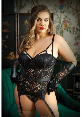 Moonlight Caged Bustier and Panty - Plus Size
