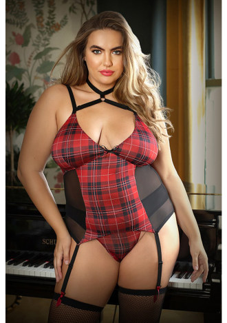 Shannon Harness Bustier and Panty - Plus Size