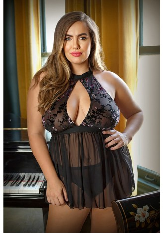Willow Floral Burnout Babydoll and Panty - Plus Size
