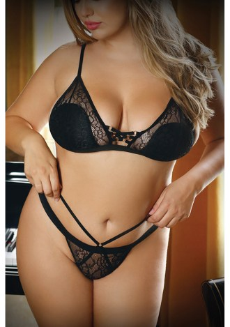 Sweet Spot Lace Up Bra and Panty - Queen Size