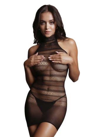 High Lace Neck Net Mini Dress