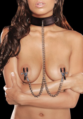 Ouch! Velcro Collar with Nipple Clamps