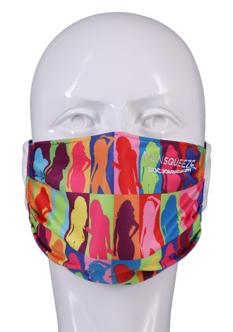 DJ Reversible and Adjustable Face Mask - Main Squeeze Pattern with Black Ear Loops