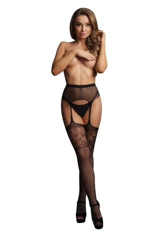 Le Desir Garterbelt Stockings with Lace Top