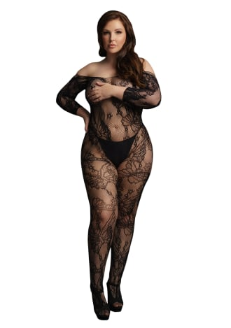 Le Desir Lace Sleeved Bodystocking - Queen Size