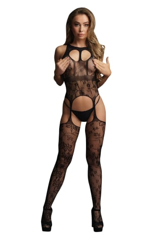 Le Desir Lace Suspender Bodystocking with Round Neck