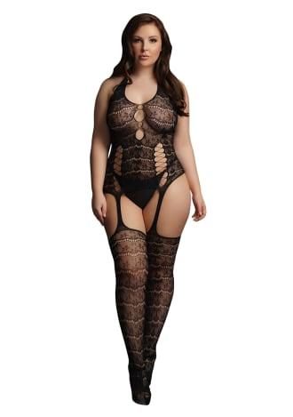 Le Desir Lace Suspender Bodystocking - Queen Size