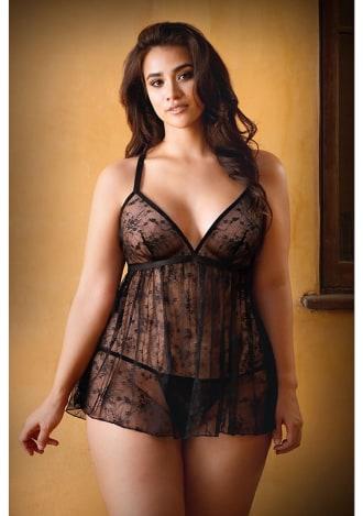 Elena Lace Babydoll and Matching Panty - Plus Size