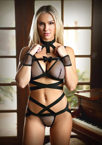Kiana Wide Banded Bra, Caged Panty and Cuffs