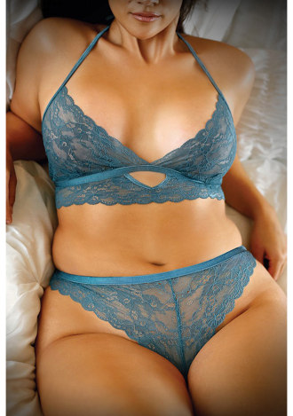 Teal Me About It Lace Bralette and Panty - Queen Size