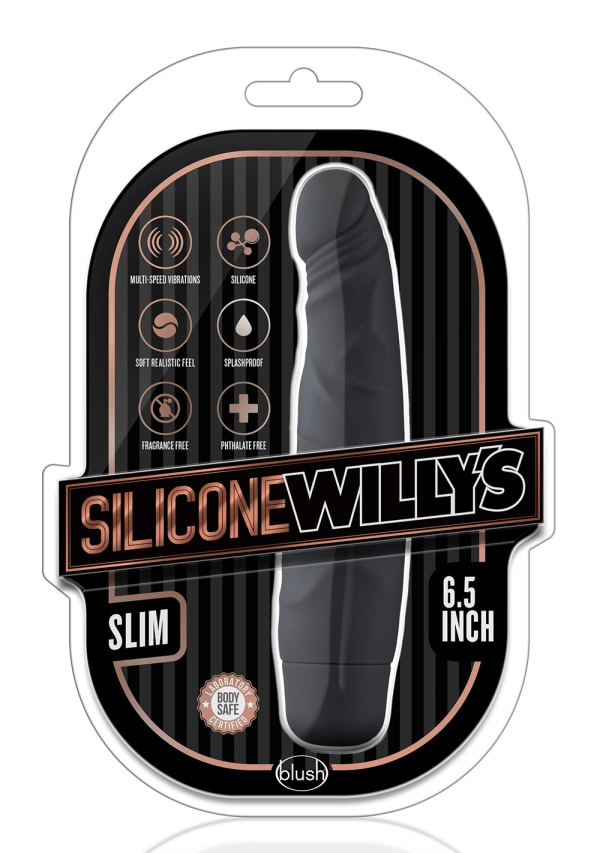 "Silicone Willy's - Slim - 6.5"" Vibrating Dildo Image 4"