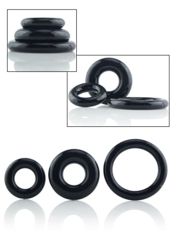 RingO 3-pack Stretchy Black Cock Rings Image 0