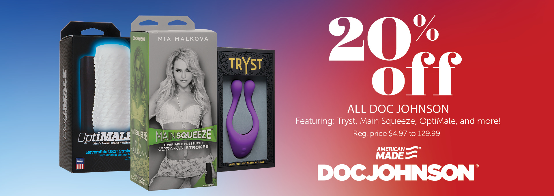 20% OFF Select Doc Johnson Products