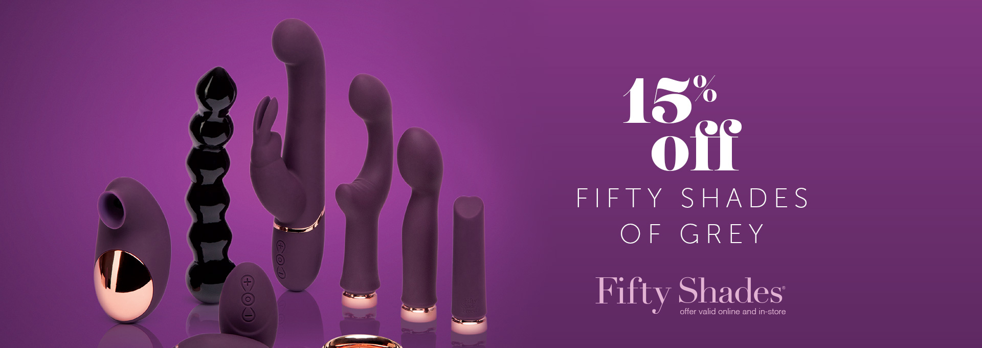 15% OFF All Fifty Shades of Grey Toys