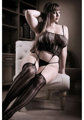 Queen Size Black Fantasy Lingerie Black Magic Cami Top with Attached Stockings