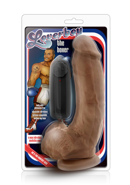 "Loverboy - The Boxer - 9"" Vibrating Realistic Cock Image 4"