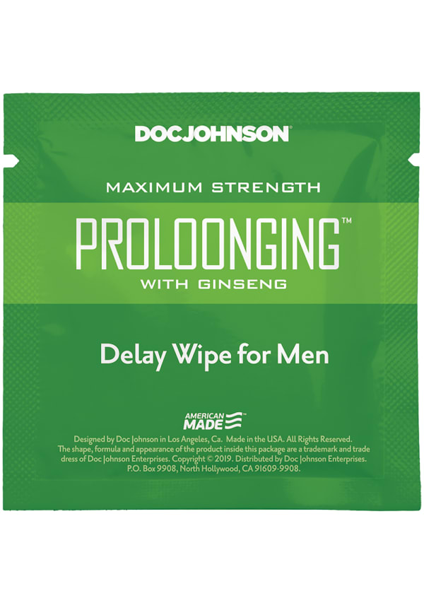 Proloonging with Ginseng - Delay Wipes for Men - 10 Pack Image 1