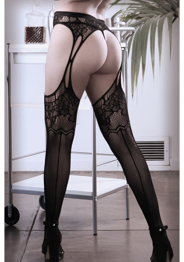 What If? Floral Net Garter Stockings - Queen Size Image 1