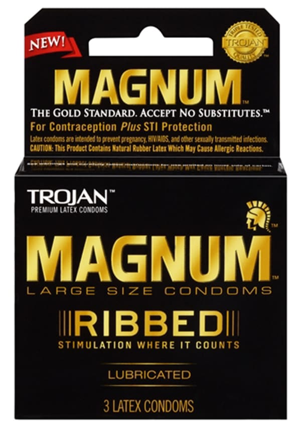 Trojan Magnum Ribbed Lubricated Condoms - 3 Pack Image 0