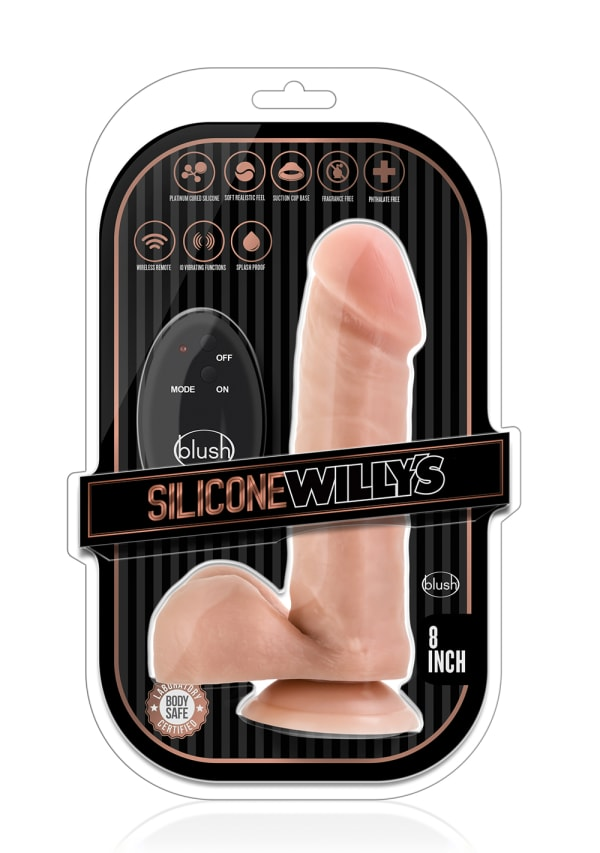 "Silicone Willy's 8"" 10-Function Wireless Remote Silicone Dildo with Balls Image 4"