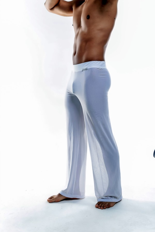 Sheer Lounge Pants - White Mesh Image 2