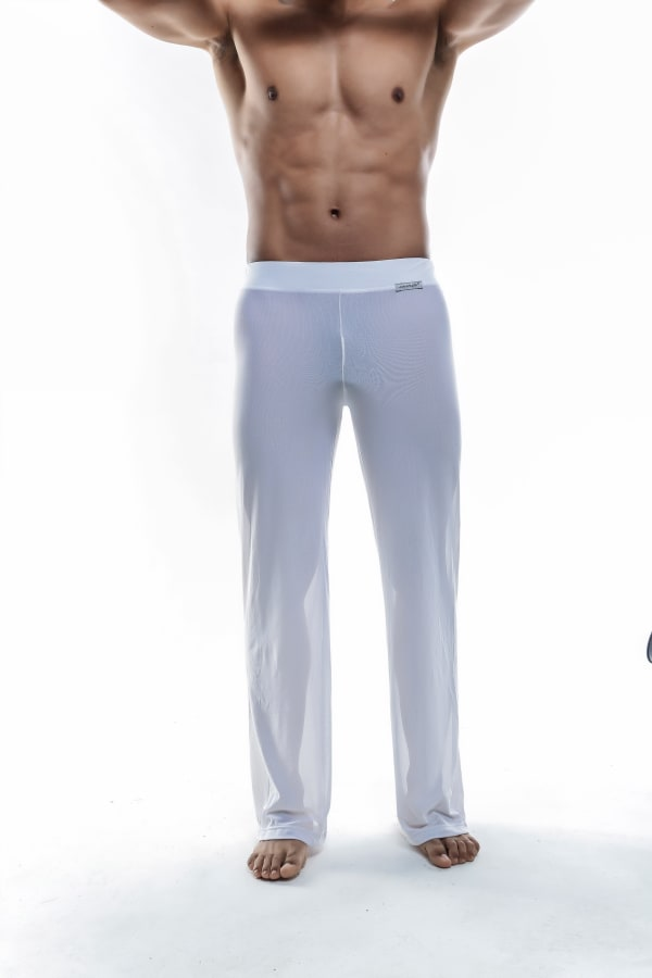 Sheer Lounge Pants - White Mesh Image 0