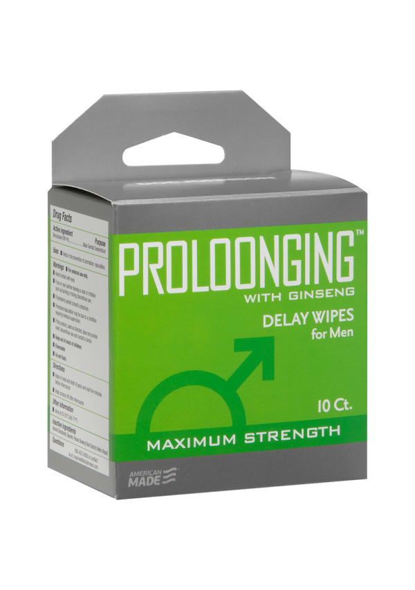 Proloonging with Ginseng - Delay Wipes for Men - 10 Pack Image 2