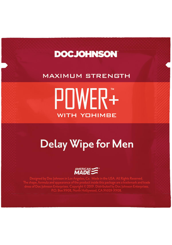Power+ with Yohimbe - Delay Wipes for Men - 10 Pack Image 1