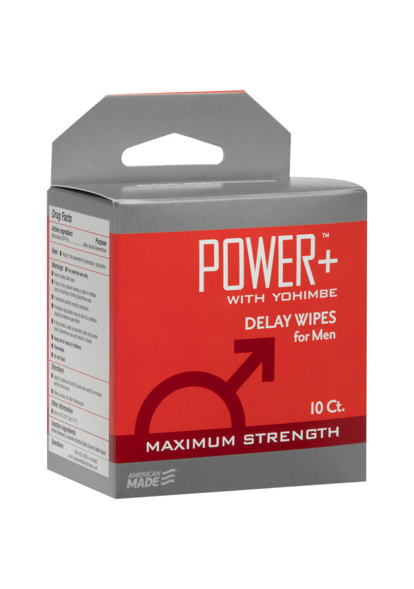 Power+ with Yohimbe - Delay Wipes for Men - 10 Pack Image 2