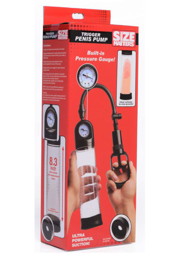 Size Matters Trigger Penis Pump with Built-In Pressure Gauge Image 4