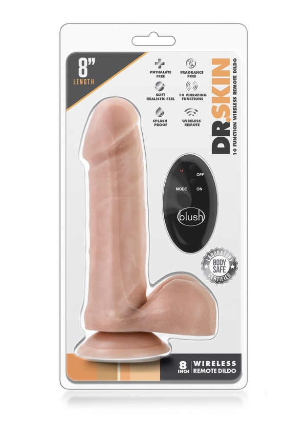 "Dr. Skin - 8"" 10 Function Wireless Remote Dildo Image 8"