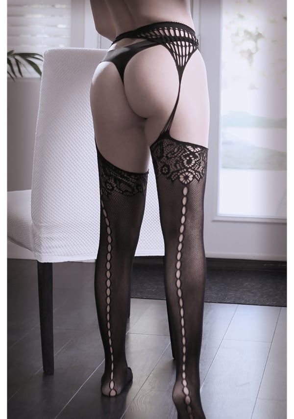 I Don't Mind Net Gartered Stockings Image 1
