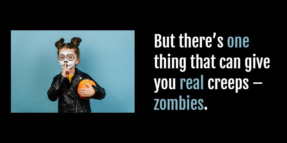 cute zombie girl with a pumpkin
