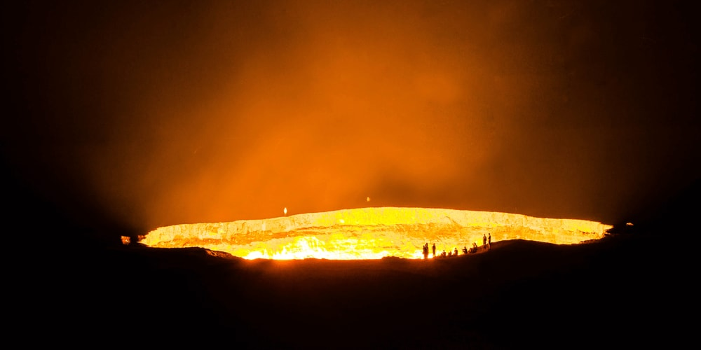 Derweze is a burning crater in Turkmenistan