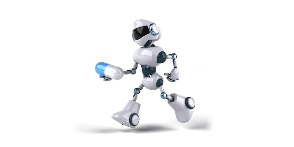 Health robot carrying a pill