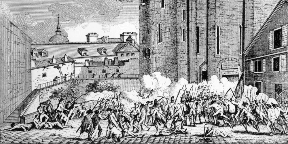 The storming of the Bastille, 1789.