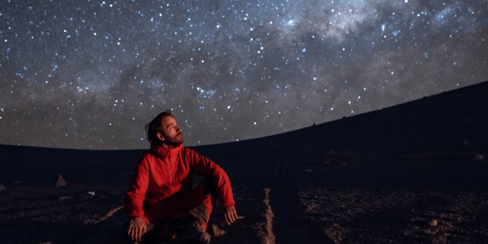 Sagittarius person looking in the sky