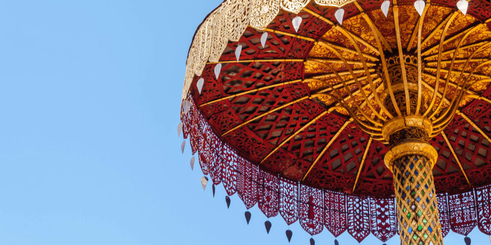 Beatiful, complex Chinese umbrella in the sunshine