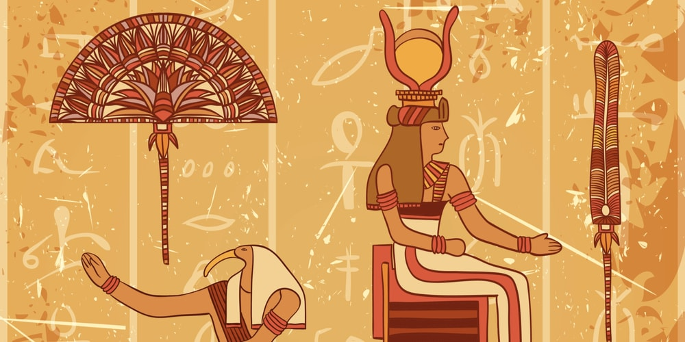 Ancient Egyptian fan-like umbrella