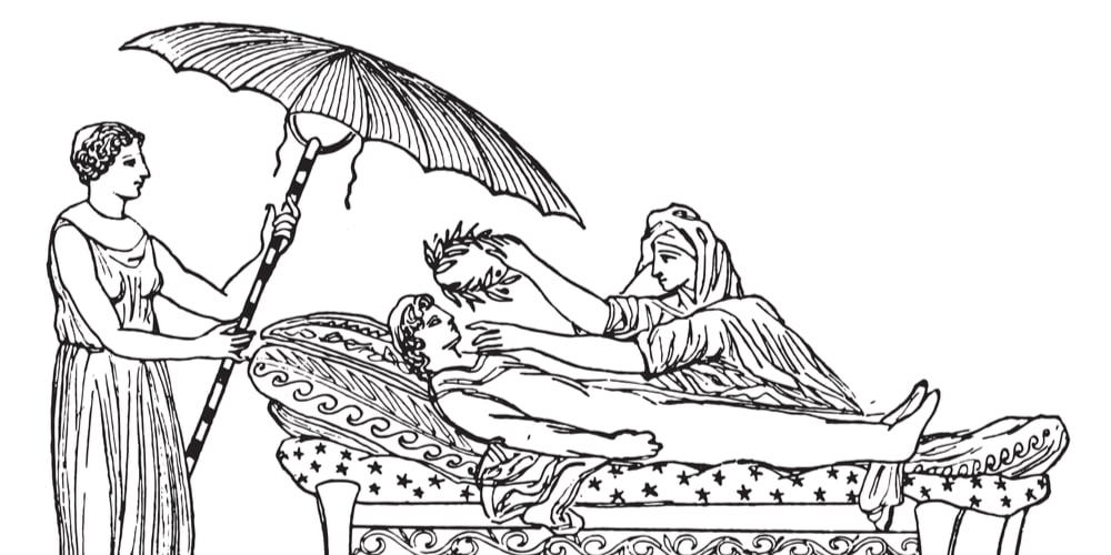 Umbrella on an ancient Greek funeral bed engraving