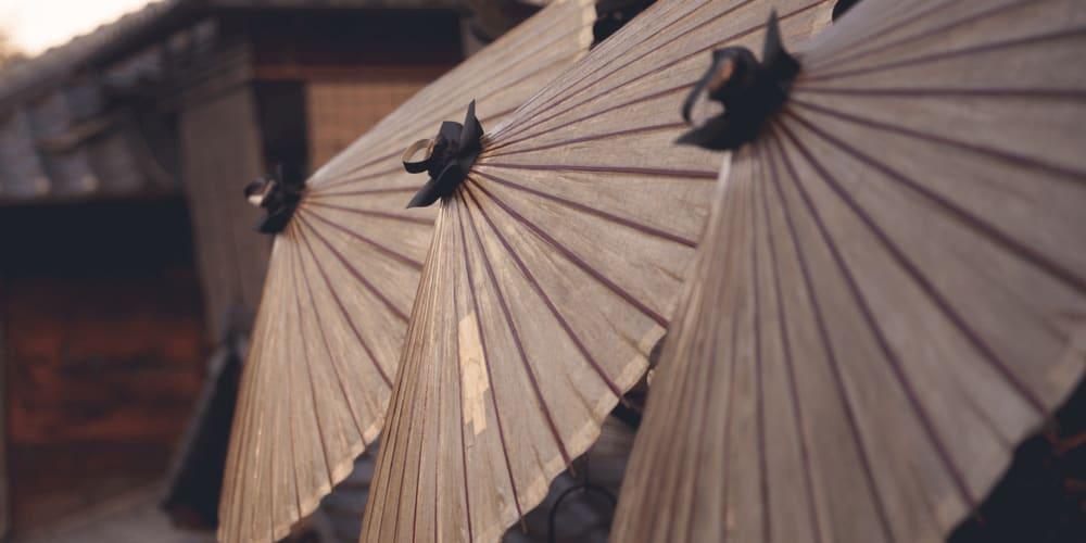 Basic oil-paper umbrellas in Japan